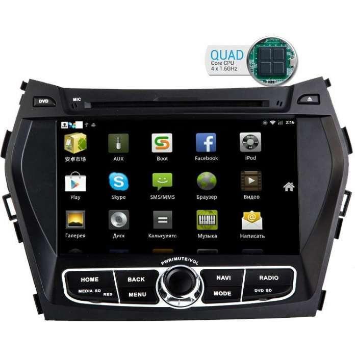 """Radio DVD Navegador GPS Android para Hyundai Santa Fe / IX45 (8"""")"""