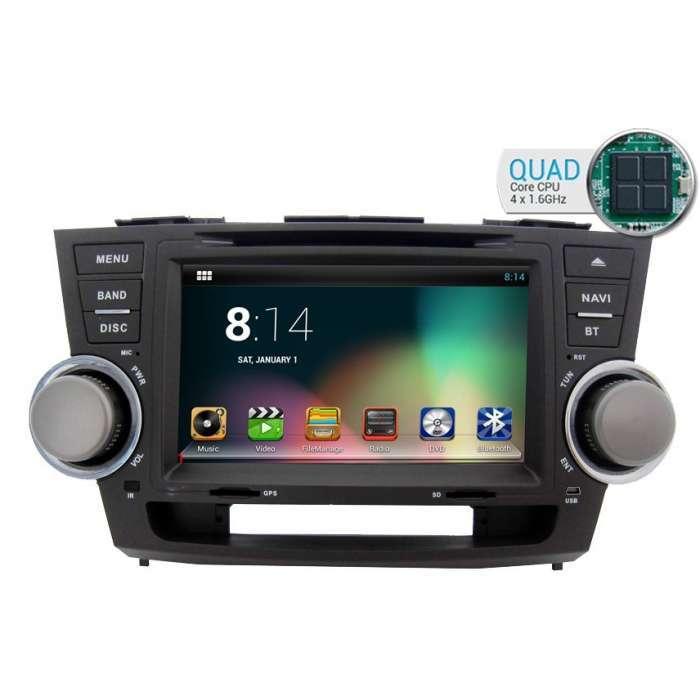 "Radio DVD Navegador GPS Android para Toyota Highlander (8"")"